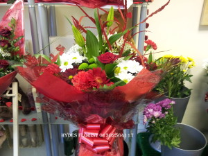 valentines aqua boxed bouquet with single red rose £45