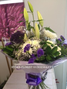 purple and white aqua boxed bouquet mothers day £45