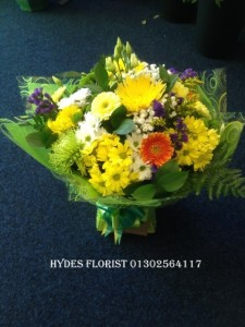 yellow aquaboxed bouquet mothers day