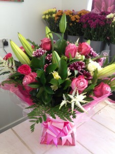 pink roses and lillies £50
