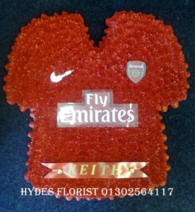 arsenal shirt bespoke funeral tributes hydes florists doncaster