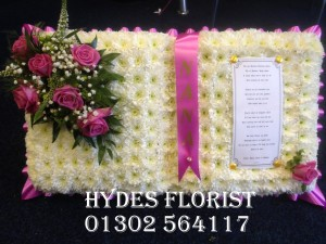 hydes florist doncaster open book funeral tribute