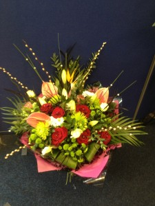 roses and anthurium handtied £65