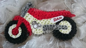 moto x motorbike funeral tribute flowers doncaster