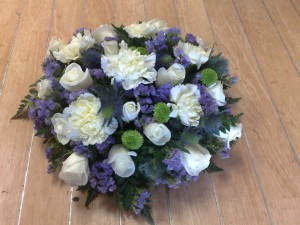 purple and white carnations